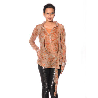 Top With Shiffon Fabric With Front Open With Full Sleeves.