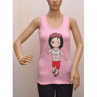 "Top Womens Splash Brand Cotton,Stretch Pink Graphic Print SIZE""XS"" (8)UCTSL006"