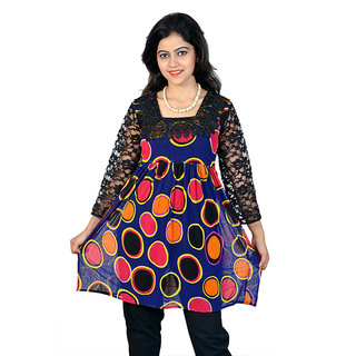 Printed Net Top In Lacy Neck Design For Girls
