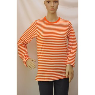 "T Shirt Womens Full Sleeve Cotton Colour Orange,White Stripes Size""M"" UCTSL076"