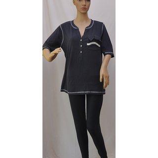 "Womens Fancy Top Half Sleeve Stretch Cotton Blue Size ""L"" UCTSL061"