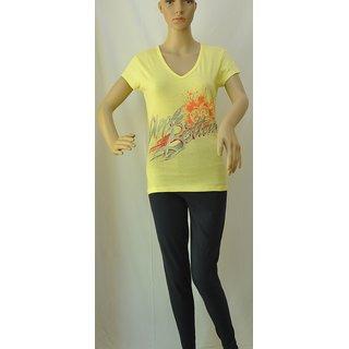 "Womens T Shirt Short Sleeve Cotton Yellow Size ""M"" UCTSL068"