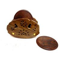 "Hand Made Wooden Coaster Set 4""x4"""