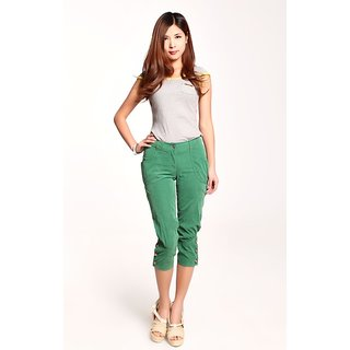Hi Fashion: Rhinestone Design Half Pant Green Color New Arrival..With Size..