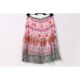 Hi Fashion:Pink Color Midi Skirt Flower Printed With Size Limited Stock.