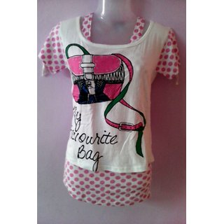 Girls Top White-pink Dotted