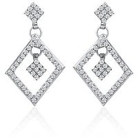 Oviya Rhodium Plated Whimsical Glam Earrings With Crystal For Women