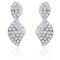 Oviya Rhodium Plated Brilliant Art Earrings With Crystal For Women