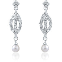 Oviya Rhodium Plated Enticing Bloom Earrings With Crystal For Women