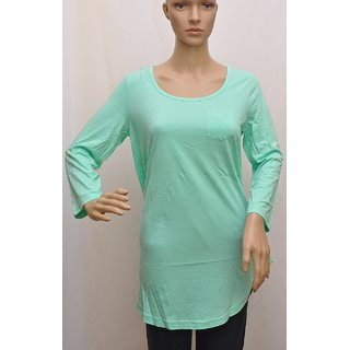 "Womens T Shirt Full Sleeve Cotton Brand BPC Green Color Size ""L"" UCTSL004"