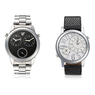 RICO SORDI Mens Multifunctional Dual Time Watches With Stainless Steel Strap And Black Leather Strap
