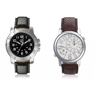 RICO SORDI Mens Multifunctional Dual Time Watch In Brown Strap With  Leather Watch With Black Dial In Black Strap