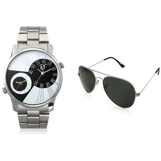RICO SORDI Mens Multifunctional Dual Time Watches With Stainless Steel Strap With Sunglass