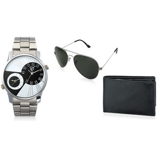 RICO SORDI Mens Multifunctional Dual Time Watches With Stainless Steel Strap With Sunglass & Wallet