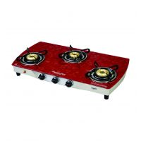 Signoracare Glass Top Three (3) Burner Gas Stove With Auto Ignition