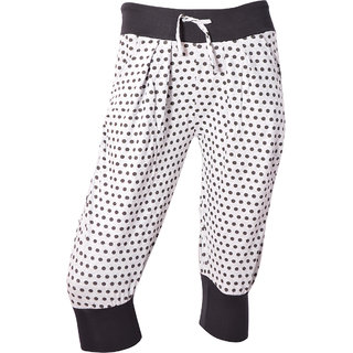 Light White With Black Dotted Printed Spa Capri