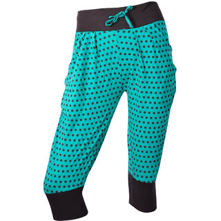 Pine Green With Black Dotted Printed Spa Capri