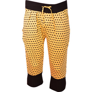 Saffron Yellow With Black Dotted Printed Spa Capri