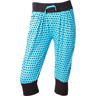 Sky Blue With Black Dotted Printed Spa Capri