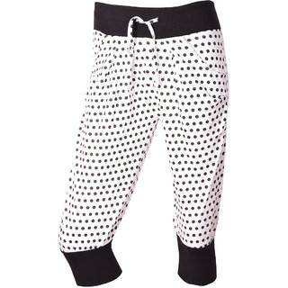 White With Black Dotted Printed Spa Capri