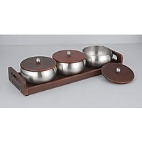 Magpie Designer German Set Of 3 Bowl Set With Wooden Tray  Model 95