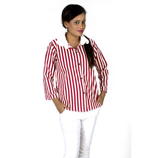TrendBAE Long Stripe Shirt - Maroon