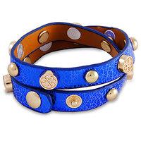 Young & Forever  Blue Leather Gold Studs Embellished Strap Bracelet For Women