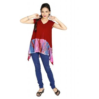 Vihaan Impex Chic Multi Crepe Handmade Handloom Tie Dye Indian Kurti