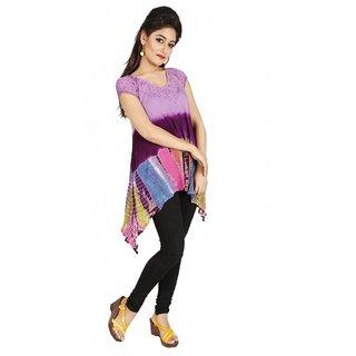 Vihaan Impex Multi Crepe Handmade Handloom Tie Dye Indian Kurti