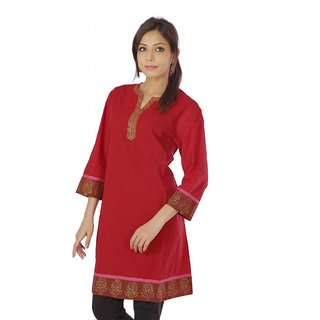 Vihaan Impex Nice Red Pure Cotton Hand Block Printed Designer Kurti Tunic Top