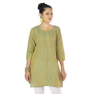 Vihaan Impex Green Indian Pure Cotton Ethnic Ladies Kurti