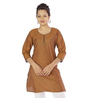 Vihaan Impex Brown Indian Pure Cotton Ethnic Ladies Kurti