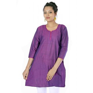 Vihaan Impex Light Purple Indian Pure Cotton Ethnic Ladies Kurti
