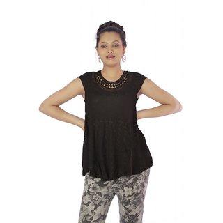 Vihaan Impex Black Rayon Crepe Handmade Handloom Embroidred Indian Tunic