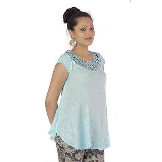 Vihaan Impex Light Blue Rayon Crepe Handmade Handloom Embroidred Indian Tunic