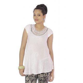 Vihaan Impex Beige Rayon Crepe Handmade Handloom Embroidred Indian Tunic