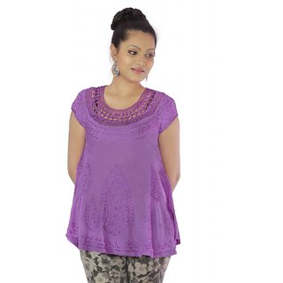 Vihaan Impex Purple Rayon Crepe Handmade Handloom Embroidred Indian Tunic