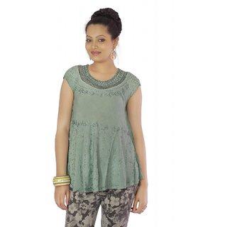 Vihaan Impex Light Gray Rayon Crepe Handmade Handloom Embroidred Indian Tunic