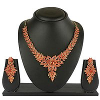 VK Jewels Pretty Leafy Gold Plated Necklace with Earrings