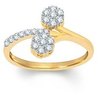 Pure Gold Jewellers 18kt Yellow Gold Floral Cluster Ring With 22pcs Of 0.30cts Diamonds