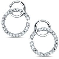 Pure Gold Jewellers 18kt White Gold Round Curved Earring With 46pcs Of 0.31cts Diamonds