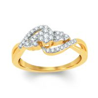 Pure Gold Jewellers 18kt Yellow Gold Pressure Set Cluster Ring With 29pcs Of 0.20cts Diamonds