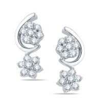 Pure Gold Jewellers 18kt White Gold Floral Cluster Earring With 28pcs Of 0.40cts Diamonds - 5759924