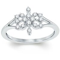 Pure Gold Jewellers 18kt White Gold Cluster Ring With 16pcs Of 0.20cts Diamonds