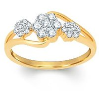 Pure Gold Jewellers 18kt Yellow Gold Floral Cluster Ring With 21pcs Of 0.29cts Diamonds
