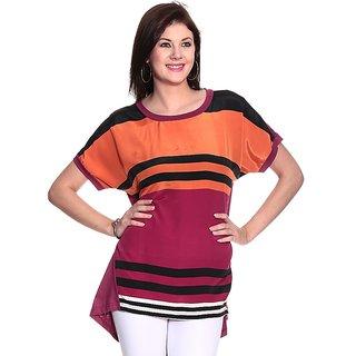 Girls Orange Polyester Round Striped Top | PH-ORIGAN1