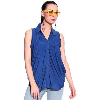 Girls Blue Polyester Basic Collar Solids Top | PH-GRIFFE11