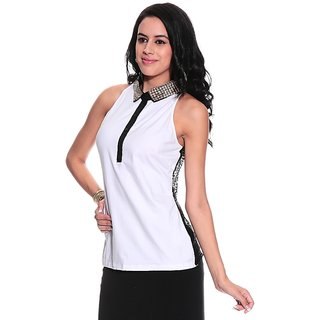 Girls White Cotton Basic Collar Solids Top | PH-MERCURY1