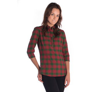 Bombay High Cotton Green Red Slim Shirt