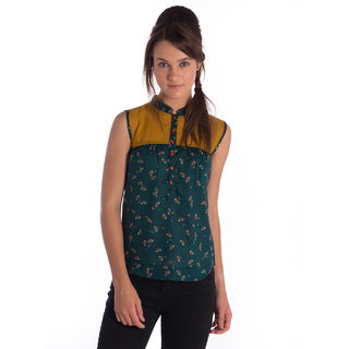 Co.In Cotton Green Sleeveless Regular Top
